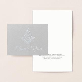Custom Masonic Thank You Cards | Silver Foil
