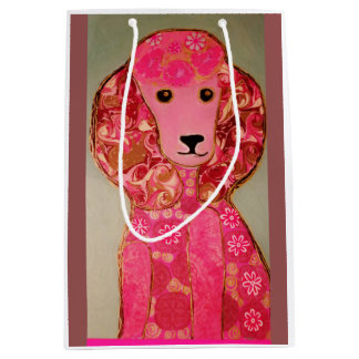 Custom Medium Gift Bag with Pink Poodle Dog