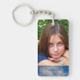 Custom Memorial Add Photo Quote Tribute Blue Sky Double-Sided Rectangular Acrylic Key Ring