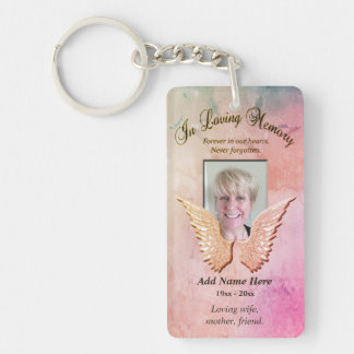 Custom Memorial Angel Wings Rose Colores Add Photo Double-Sided Rectangular Acrylic Key Ring