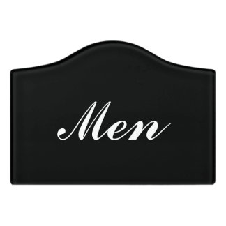 Custom mens room door sign for restroom washroom