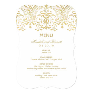 Custom Menu Card | Gold Vintage Glamour