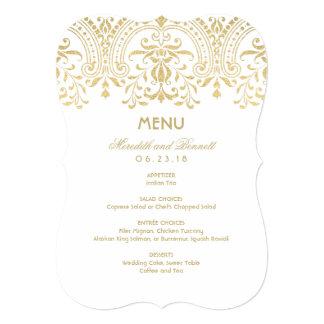 Custom Menu Card   Gold Vintage Glamour 13 Cm X 18 Cm Invitation Card