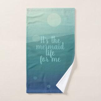 Custom Mermaid Life Quote Aqua Waves Hand Towel