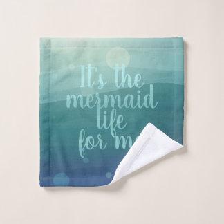 Custom Mermaid Life Quote Aqua Waves Wash Cloth