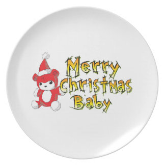 Custom Merry Christmas Baby Teddy Bear Apron Plate