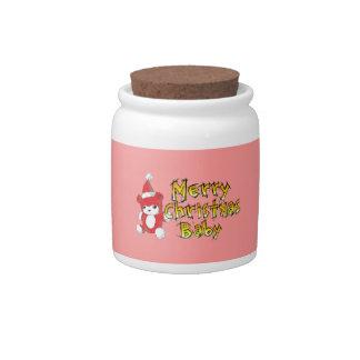 Custom Merry Christmas Baby Teddy Bear Candy Jar
