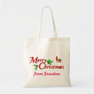 Custom Merry Christmas Budget Tote Bag