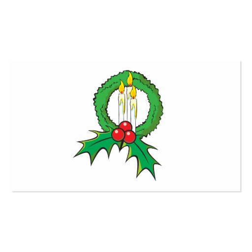 Custom Merry Christmas Candle Wreath Invitations Business Card Template