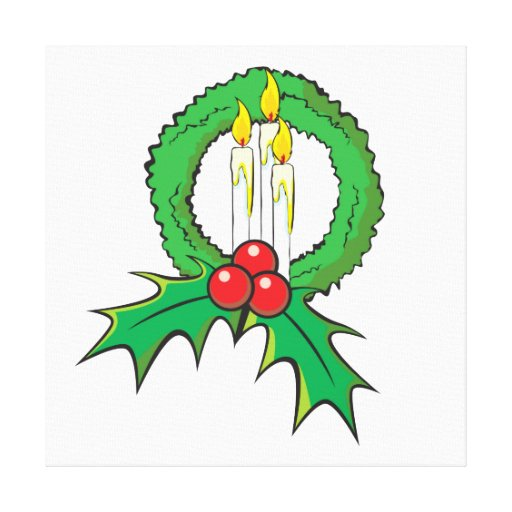 Custom Merry Christmas Candle Wreath Invitations Canvas Prints