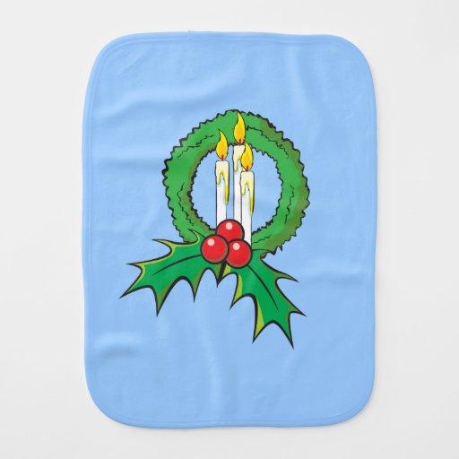 Custom Merry Christmas Candle Wreath Invitations Burp Cloths