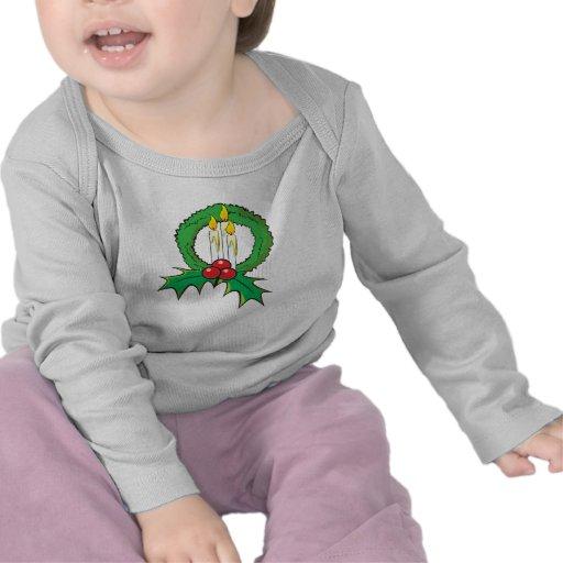 Custom Merry Christmas Candle Wreath Kids Shirts