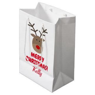 Custom Merry Christmas gift bag with cute reindeer