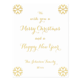 Custom Merry Christmas Happy New Year Holiday Postcard