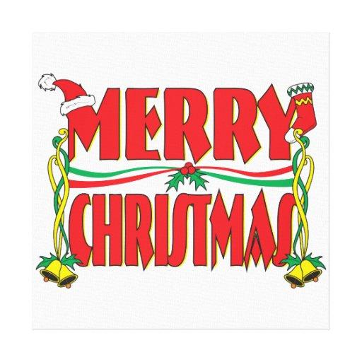 Custom Merry Christmas Invitation Card Stamp Label Canvas Print