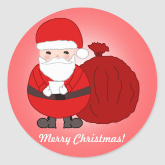 Custom Merry Christmas Stickers With Cute Santa