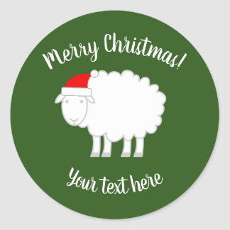 Custom Merry Christmas stickers with cute sheep