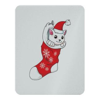 Custom Merry Christmas White Kitten Cat Red Sock 11 Cm X 14 Cm Invitation Card