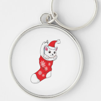 Custom Merry Christmas White Kitten Cat Red Sock Key Chains