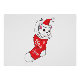 Custom Merry Christmas White Kitten Cat Red Sock Poster