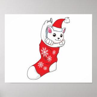 Custom Merry Christmas White Kitten Cat Red Sock Posters