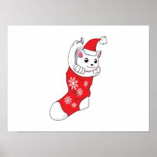Custom Merry Christmas White Kitten Cat Red Sock Print