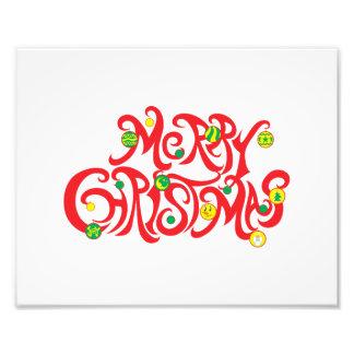 Custom Merry Christmas with Christmas Balls Photo Art