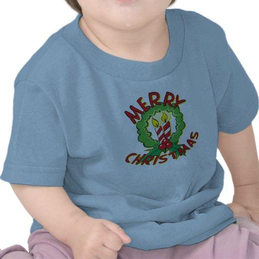 Custom Merry Christmas Wreath Candle Kids Shirts
