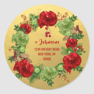 Custom MERRY CHRISTMAS Wreath GOLD Return Address Classic Round Sticker
