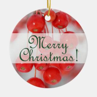 Custom Merry Retro Christmas 2016 with Berries Round Ceramic Decoration