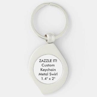 Custom Metal Keychain Key Ring Blank Template Silver-Colored Swirl Key Ring