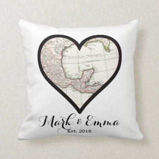 Custom Mexico honeymoon wedding gift couple names Throw Pillow