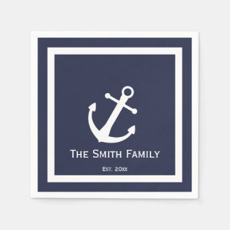 Custom Midnight Blue and White Nautical Napkins Paper Napkin