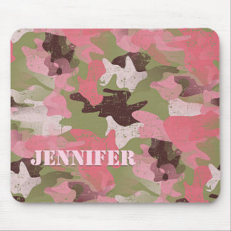 Custom Military Green Pink Camouflage Pattern Mouse Pad