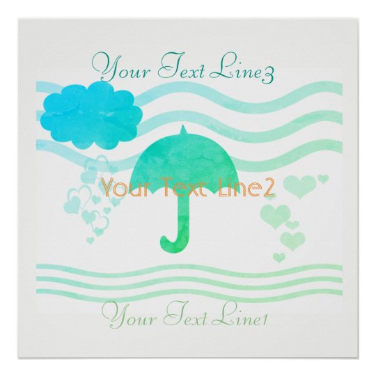 Custom Mint Aqua Hearts Rain Baby Shower Nursery Poster