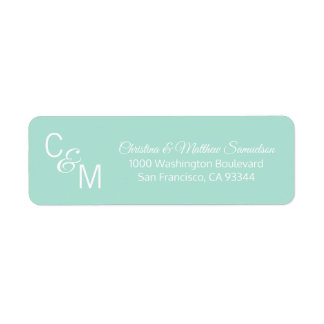 Custom Mint Green Grey Vine Wedding Return Address Return Address Label