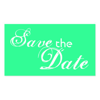 Custom mint green save the date wedding cards business card