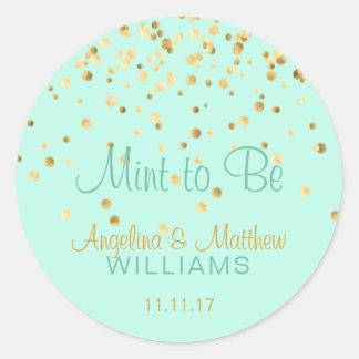 Custom Mint to Be Mint Gold Confetti Wedding Round Sticker