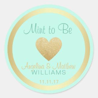 Custom Mint to Be Mint Gold Glitter Heart Wedding Round Sticker