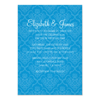 Custom Modern Blue Damask Wedding Invitations