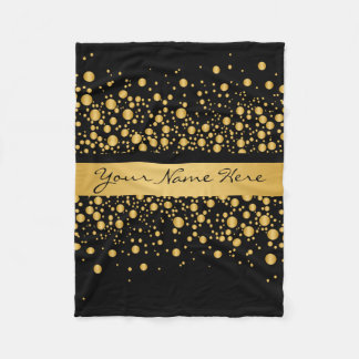 Custom Modern Bubbles | Exquisite Gold on Black Fleece Blanket