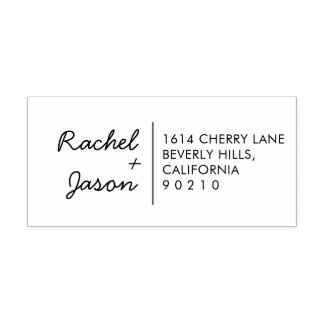 Custom Modern Cute Couple Return Address Stamp