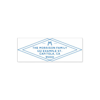 Custom Modern Geometric Family Name Return Address Self-inking Stamp