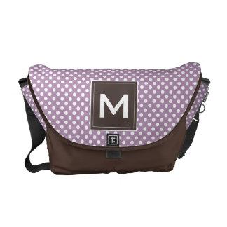Custom Modern Monogram Polka Dots Stripes Diaper Commuter Bag