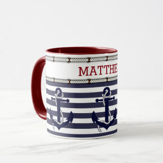 Custom Modern Nautical Anchor Chic Stripes Pattern Mug