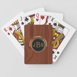 Custom Monogram 3 Letters   Woodgrain Gold Black Playing Cards