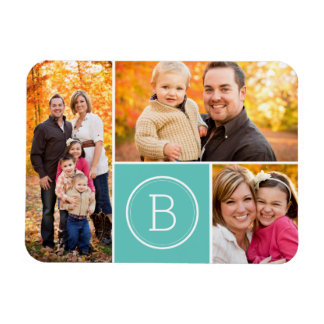 Custom Monogram 3 Photo Magnet