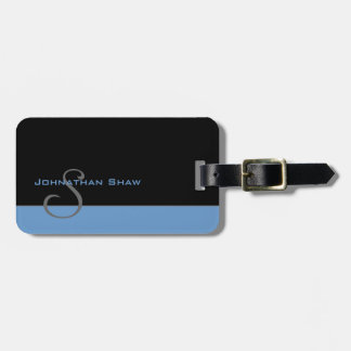 Custom Monogram 5 (Blue) Luggage Tag