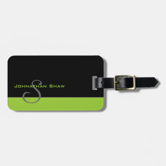 Custom Monogram 5 (Green) Luggage Tag