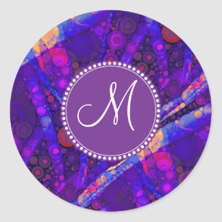 Custom Monogram Abstract Circles Mosaic Round Sticker
